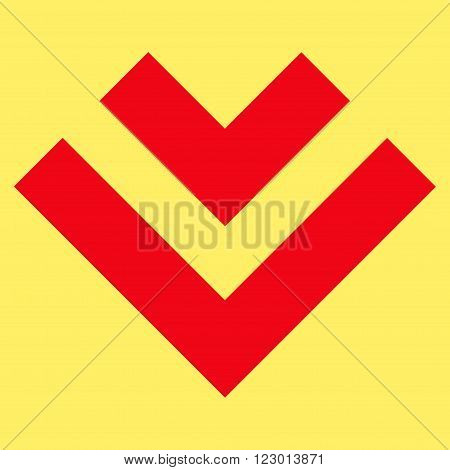 Shift Down vector pictogram. Image style is flat shift down pictogram symbol drawn with red color on a yellow background.