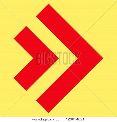 Shift Right vector symbol. Image style is flat shift right icon symbol drawn with red color on a yellow background.