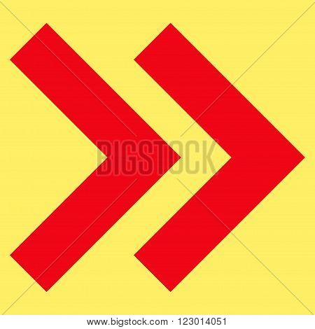 Shift Right vector symbol. Image style is flat shift right iconic symbol drawn with red color on a yellow background.