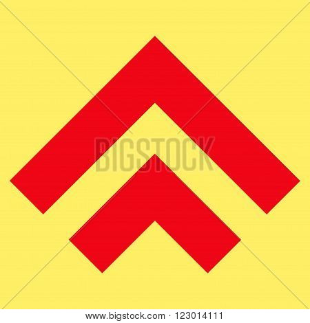 Shift Up vector icon. Image style is flat shift up iconic symbol drawn with red color on a yellow background.