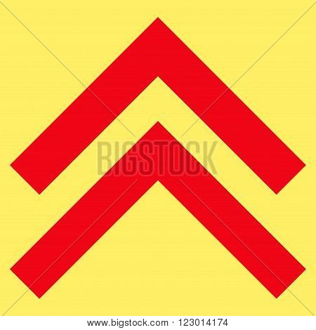 Shift Up vector pictogram. Image style is flat shift up icon symbol drawn with red color on a yellow background.
