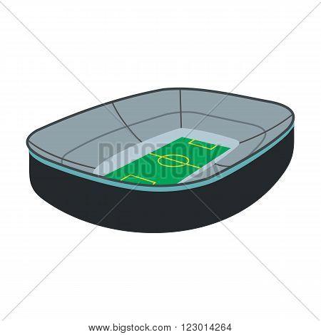 Oval footbal stadium icon in flat style isolated on white background