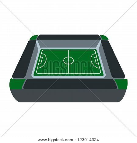 Square soccer field with fan stand, tribune icon in flat style isolated on white background
