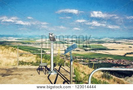 Sightseeing binoculars and slovak landscape with fields and clouds. Nitra Slovakia. Tourism theme. Illustration with colored pencils.