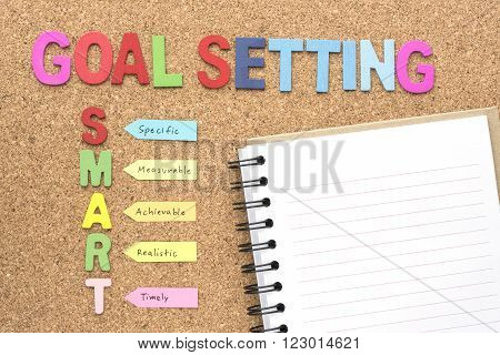Words goal setting and smart with notebook smart goal and success concept for personal and business
