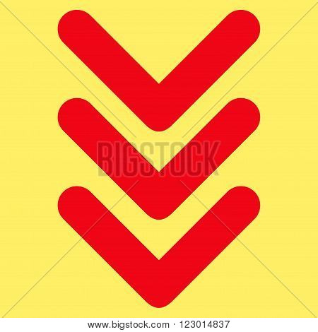 Triple Arrowhead Down vector pictogram. Image style is flat triple arrowhead down icon symbol drawn with red color on a yellow background.