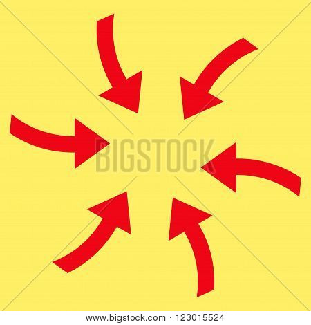 Twirl Arrows vector icon symbol. Image style is flat twirl arrows icon symbol drawn with red color on a yellow background.
