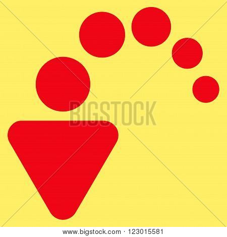 Undo vector symbol. Image style is flat undo icon symbol drawn with red color on a yellow background.
