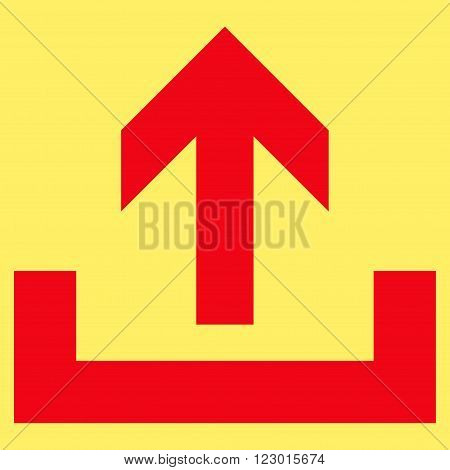 Upload vector pictogram. Image style is flat upload pictogram symbol drawn with red color on a yellow background.