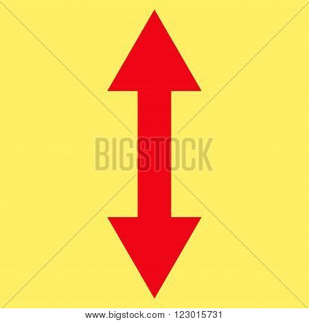 Vertical Flip vector icon symbol. Image style is flat vertical flip icon symbol drawn with red color on a yellow background.