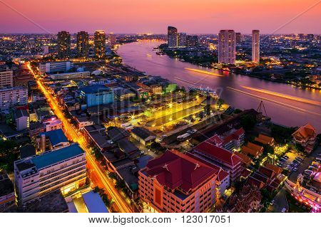 Bangkok City at night time Hotel and resident area in the capital of Thailand