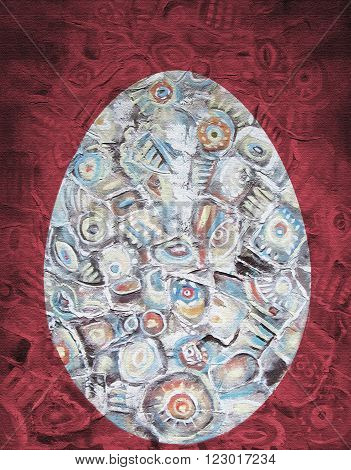 Abstract acrylic painting. Oval object in the shape of an egg on a red background. Easter theme. Ethnic pattern. Easter egg.