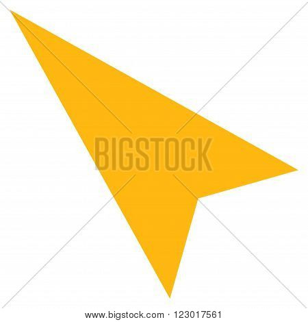 Arrowhead Left-Up vector icon symbol. Image style is flat arrowhead left-up pictogram symbol drawn with yellow color on a white background.