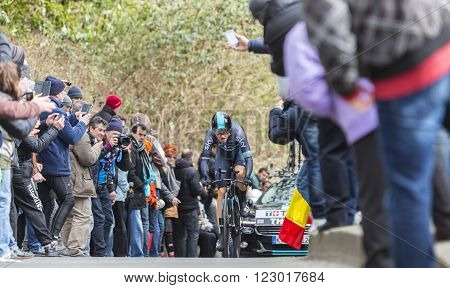 Conflans-Sainte-HonorineFrance-March 62016: The Welsh cyclist Geraint Thomas of Team Sky riding during the prologue stage of Paris-Nice 2016. Thomas won Paris Nice 2016