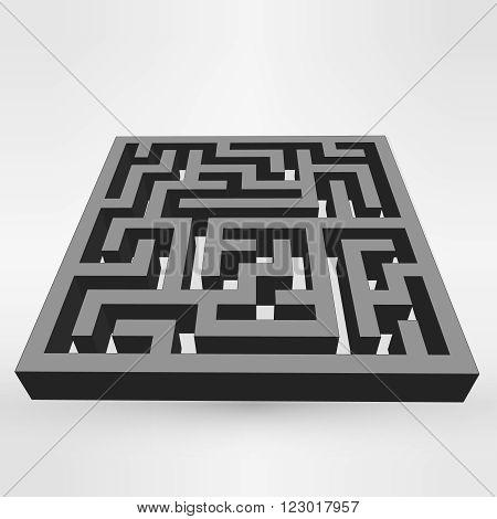 Maze labyrinth puzzle dark on grey background. 3D Vector. EPS vector illustration