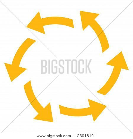 Centrifugal Arrows vector symbol. Image style is flat centrifugal arrows icon symbol drawn with yellow color on a white background.
