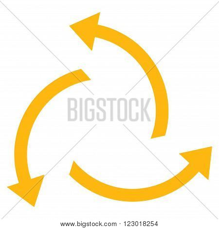 Centrifugal Arrows vector pictogram. Image style is flat centrifugal arrows pictogram symbol drawn with yellow color on a white background.
