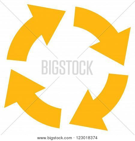 Circulation vector symbol. Image style is flat circulation pictogram symbol drawn with yellow color on a white background.