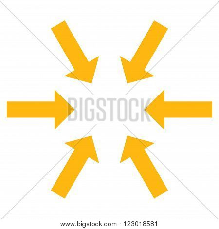 Compact Arrows vector icon. Image style is flat compact arrows icon symbol drawn with yellow color on a white background.