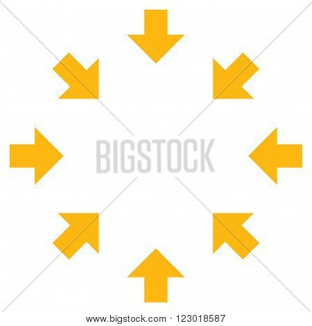 Compact Arrows vector icon symbol. Image style is flat compact arrows pictogram symbol drawn with yellow color on a white background.