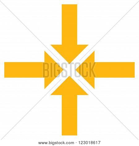 Compress Arrows vector symbol. Image style is flat compress arrows icon symbol drawn with yellow color on a white background.