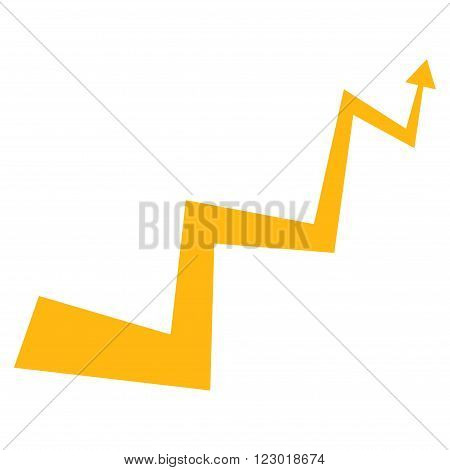 Curve Arrow vector symbol. Image style is flat curve arrow pictogram symbol drawn with yellow color on a white background.