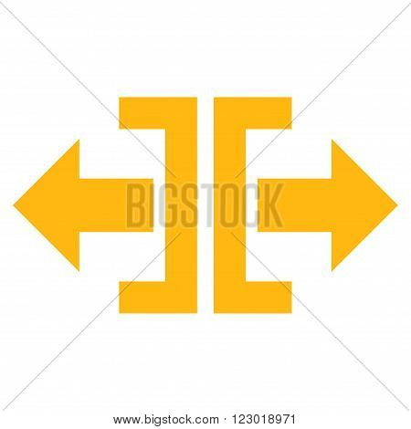 Divide Horizontal Direction vector icon. Image style is flat divide horizontal direction iconic symbol drawn with yellow color on a white background.