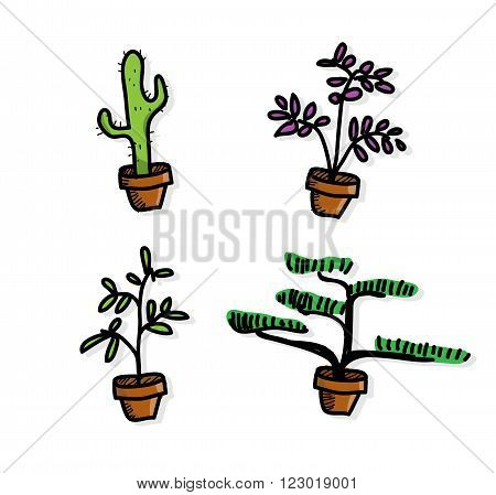 Plant Vegetation Pot, a hand drawn vector illustration of four plant vegetation pots, perfect for decoration.