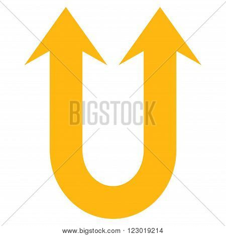 Double Forward Arrow vector icon. Image style is flat double forward arrow icon symbol drawn with yellow color on a white background.
