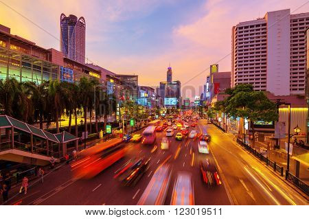 Road with traffic jams. Area in front Central World. Economic center of Bangkok Thailand