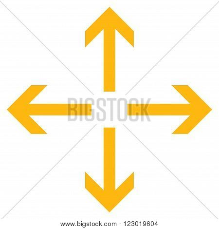 Expand Arrows vector icon. Image style is flat expand arrows pictogram symbol drawn with yellow color on a white background.