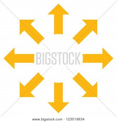 Expand Arrows vector icon. Image style is flat expand arrows iconic symbol drawn with yellow color on a white background.