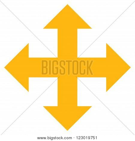 Expand Arrows vector pictogram. Image style is flat expand arrows pictogram symbol drawn with yellow color on a white background.