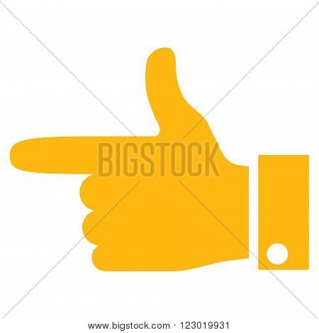 Hand Pointer Left vector icon. Image style is flat hand pointer left iconic symbol drawn with yellow color on a white background.