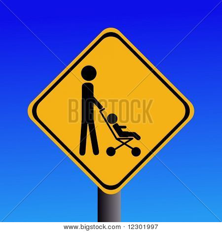 warning parents with strollers crossing sign