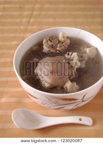 Chinese slow cooked pork spare ribs soup.