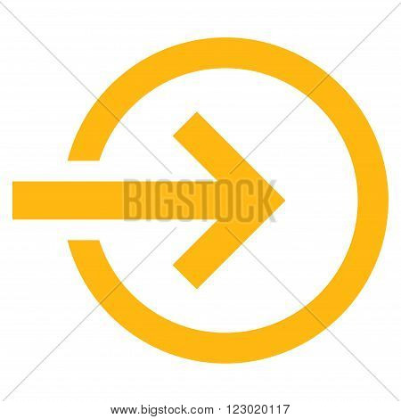 Import vector icon. Image style is flat import icon symbol drawn with yellow color on a white background.