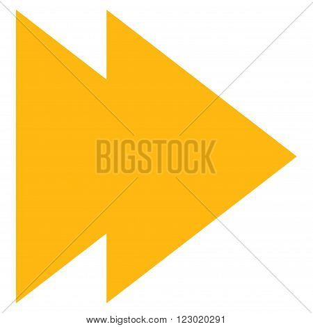 Move Right vector icon symbol. Image style is flat move right icon symbol drawn with yellow color on a white background.