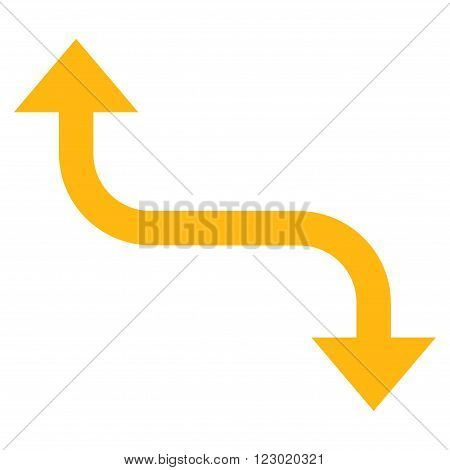 Opposite Bend Arrow vector symbol. Image style is flat opposite bend arrow iconic symbol drawn with yellow color on a white background.