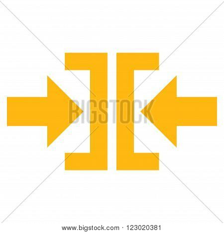 Press Horizontal Direction vector symbol. Image style is flat press horizontal direction iconic symbol drawn with yellow color on a white background.