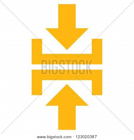 Press Vertical Direction vector icon. Image style is flat press vertical direction icon symbol drawn with yellow color on a white background.
