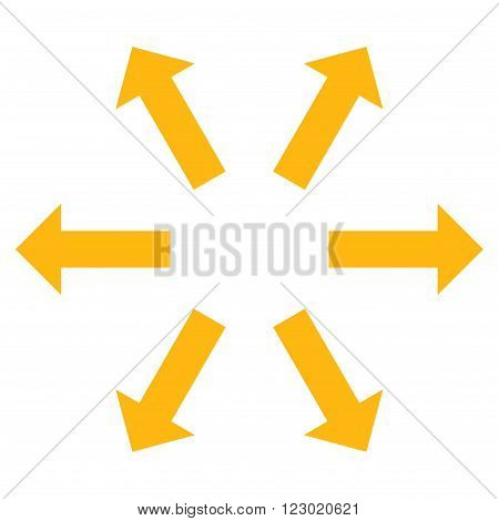 Radial Arrows vector symbol. Image style is flat radial arrows iconic symbol drawn with yellow color on a white background.