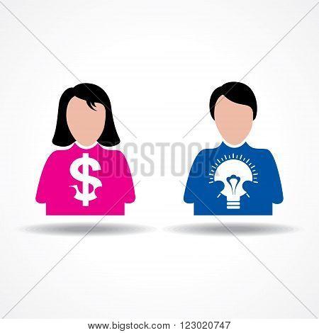 Male Female icon having money and idea bulb stock vector