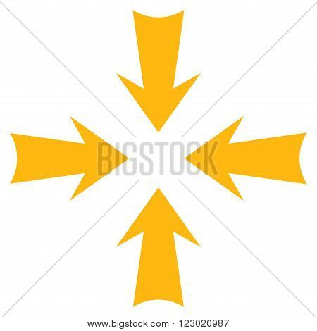 Reduce Arrows vector icon. Image style is flat reduce arrows pictogram symbol drawn with yellow color on a white background.