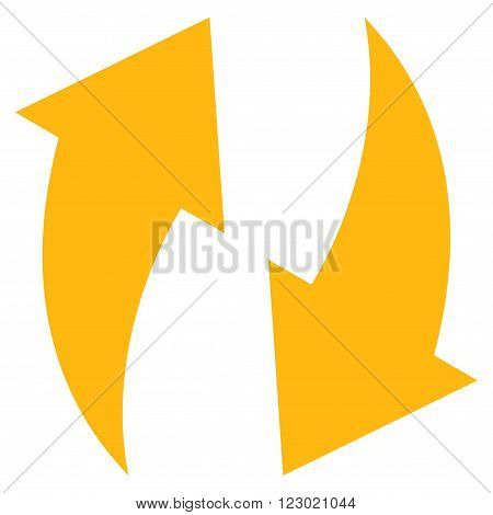 Refresh vector symbol. Image style is flat refresh pictogram symbol drawn with yellow color on a white background.