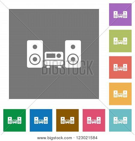 Hifi flat icon set on color square background.