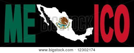 Mexico text with map on Mexican flag illustration