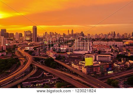 Downtown Expressway in Sunset Bangkok capital of Thailand