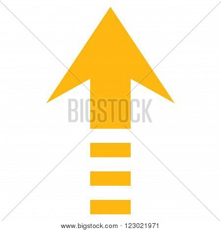Send Up vector icon symbol. Image style is flat send up pictogram symbol drawn with yellow color on a white background.