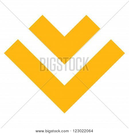 Shift Down vector icon. Image style is flat shift down pictogram symbol drawn with yellow color on a white background.